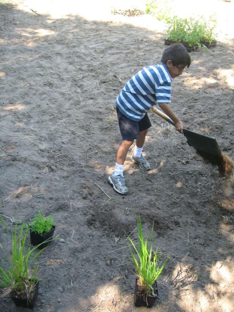 Children helping to build a rain garden